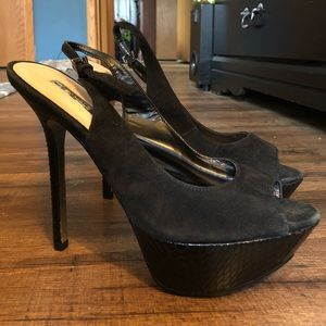 Black sling back peep toe pumps